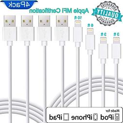 Lightning Cable Apple MFi Certified. Set of 4 charging cable