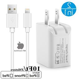 2in1  10Ft Lightning Cable/Cord + 5V/2.4A Dual Port USB Wall