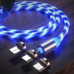 Magnetic LED Light Flowing Lightning Cable Micro USB PHONE T