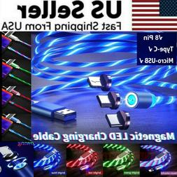 Magnetic LED Light Up USB Phone light up Charger Cord For iP