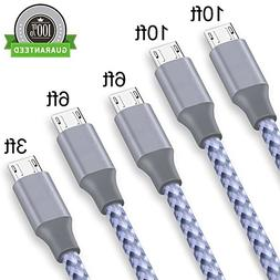 Micro USB Cable,ONSON 5Pack 3FT/6FT/6FT/10F/10FT Long Premiu