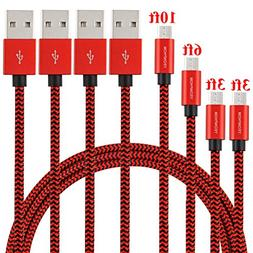 Micro USB Cable,YEONPHOM 4Pack Charger Cable 3ft 3ft 6ft 10f