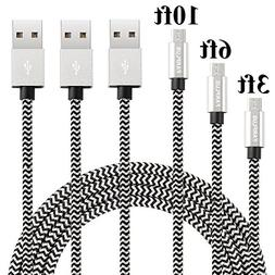 Farplus Micro USB Cable,3Pack 3 6 10 FT Android USB Charger