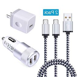 Micro USB Charger, Ououdee 2-Pack 6FT Nylon Braided Micro US
