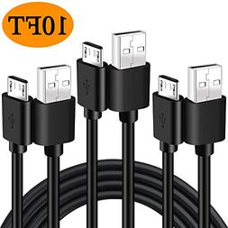 Micro USB Charging Cable,3 Pack 10FT Extra Long High Speed E