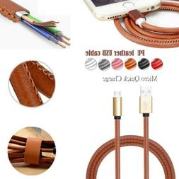 Micro USB Leather Charger  Cable Cord for Samsung HTC Sony A