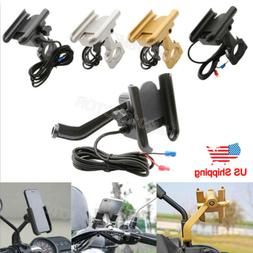 Motorcycle Cell Phone Handlebar/Mirror Mount Holder w/USB Ch