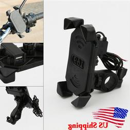 Motorcycle Handlebar Cell Phone Mount Holder with USB Charge