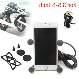 Motorcycle Handlebar Cell Phone Mount Holder Clamp with USB