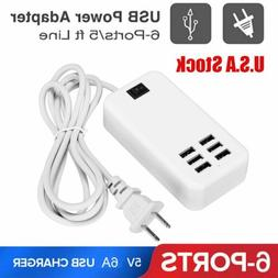 Multi Port USB Charger 6 Ports Wall Adapter Travel Hub AC Po