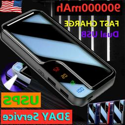 New Portable 900000mAh Battery Charger Power Bank LED Dual U