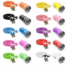 Noodle Flat 3FT USB Sync Data Cable Cord+2.1Amp Rapid Car Ch