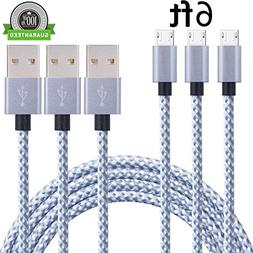SunCable 3pcs 6ft Nylon Braided High Speed 2.0 USB to Micro