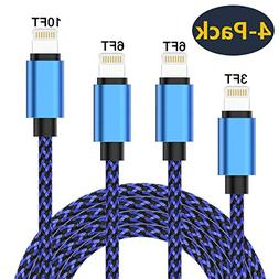 Creddeal Phone Charger Cable 4 Pack  Nylon Braided Fast Char