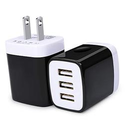 Phone Charger Cube, USB Wall Charger, Ououdee 3.1A 3-Muti Po