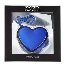 Phone Charger Keychain Heart Shaped  Blue Universal Charger