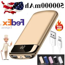 Portable 500000mAh Power Bank Backup 2 USB Ternal Battery Ch