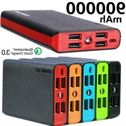 Portable 900000mAh 4 USB Power Bank External LCD LED Charger