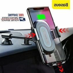 Baseus Qi Wireless Charger Car Phone Holder Mount for iPhone