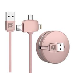 Retractable Charging Cable, CAFELE 3.3ft Multi USB Charger 3