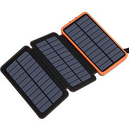 Solar Charger 24000mAh, FEELLE Solar Power Bank with 2 USB P