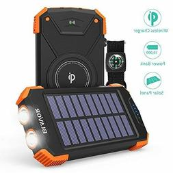 Solar Power Bank, Qi Portable Charger 10,000mAh External Bat