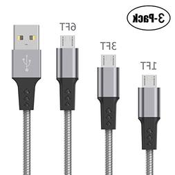 High Speed Micro USB Cable Bynccea 3 Pack 1FT 3FT 6FT Androi