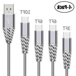 High Speed USB Type C Cable 4 Pack 3FT 6FT 6FT 10FT Cell Pho