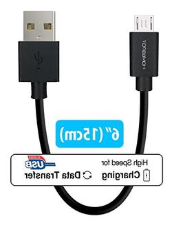 Short Android Phone Charger 6-Inch  by HomeSpot Tangle-Free