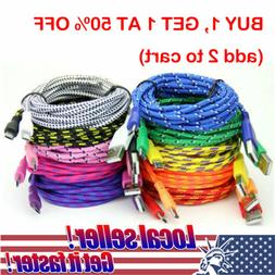 TX Braided Micro USB Data & Sync Charger Cable Cord i Phone