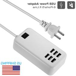 6-Port Multi USB Charger Desktop Charging Station Power Supp
