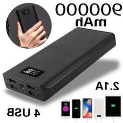USA 900000mah Portable Power Bank LCD LED 4 USB Battery Char