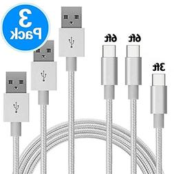 USB Type C Cable, VUV USB C Cable 3 Pack 3FT/6FT/6FTNylon Br