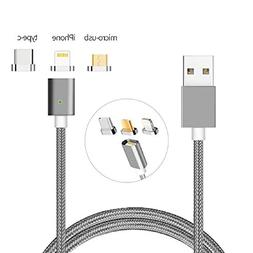 USB C Cable Magnetic,Animoeco Lightning+USB C+Micro 3 in 1 M