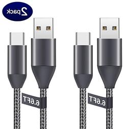 USB C Cables 6.6Ft 2Pack, Type C to USB A 2.0 Nylon Braided