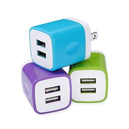 USB Wall Adapter, Ououdee 3-Pack 2.1A Dual Port Universal Ho