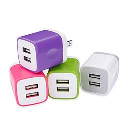 USB Wall Charger, Phone Charger Adapter, Ououdee 4-Pack 2.1A