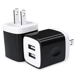 USB Wall Plug, Charger Block, Ououdee 2-Pack 2.1Amp Dual Por