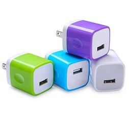 Wall Adapter, Sicodo 4-Pack Universal 1A USB Home Travel Wal