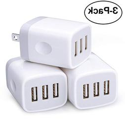 Wall Charger,3 Pack Sicodo 3-Muti Port USB Travel Wall Charg