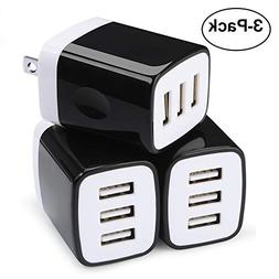Wall Charger,Cute USB Cubes,Sicodo 3-Pack Universal Travel 3