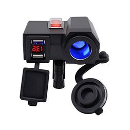 BlueFire Waterproof 5V/2.1A Dual USB Charger Socket Motorcyc